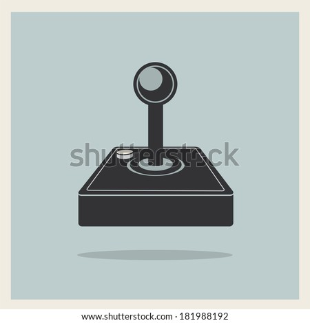 Computer Video Game Joystick on Retro Background Vector - stock vector
