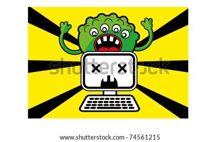 computer virus - stock vector