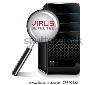 computer virus detected - stock vector