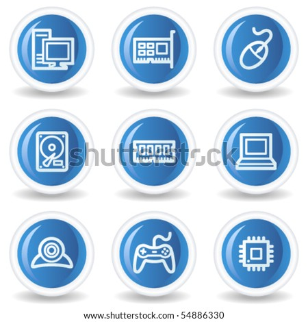 Computer web icons, blue glossy circle buttons - stock vector
