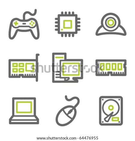 Computer web icons, green and gray contour series - stock vector