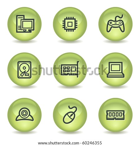 Computer web icons, green glossy circle buttons - stock vector