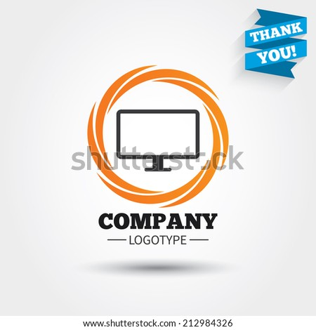 Computer widescreen monitor sign icon. Business abstract circle logo. Logotype with Thank you ribbon. Vector - stock vector