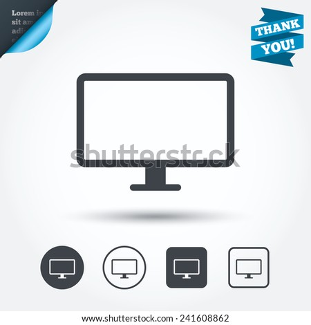Computer widescreen monitor sign icon. Circle and square buttons. Flat design set. Thank you ribbon. Vector - stock vector