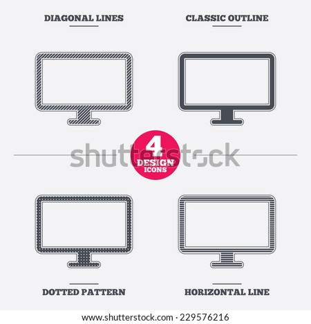 Computer widescreen monitor sign icon. Diagonal and horizontal lines, classic outline, dotted texture. Pattern design icons.  Vector - stock vector