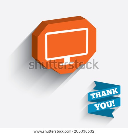 Computer widescreen monitor sign icon. White icon on orange 3D piece of wall. Carved in stone with long flat shadow. Vector - stock vector