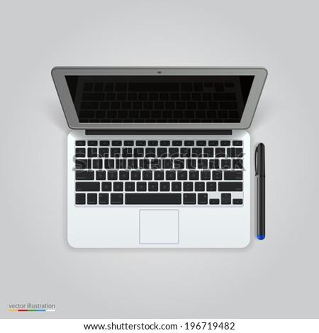 Computer with a pen. Vector - stock vector