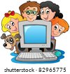 Computer with cartoon kids and dog - vector illustration. - stock vector