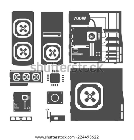 Computer with components - stock vector