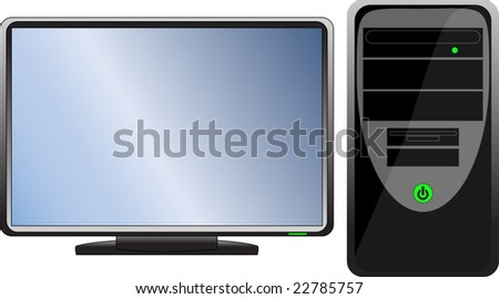 Computer with monitor(vector) - stock vector