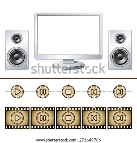 Computer  with speaker isolated. Media buttons 10eps - stock vector
