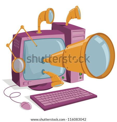Computer without anti virus or anti mal ware software - stock vector