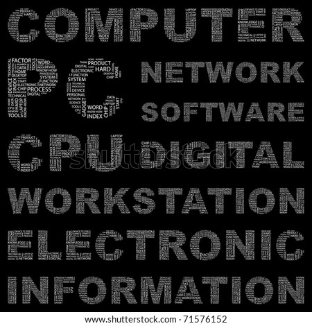 COMPUTER. Word collage on black background. Vector illustration. Illustration with different association terms.