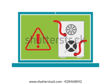 Computer worms viruses internet security and computer worms viruses cyber crime concept. Computer worms viruses with flat icon like virus, worm and vector computer worms viruses error. - stock vector