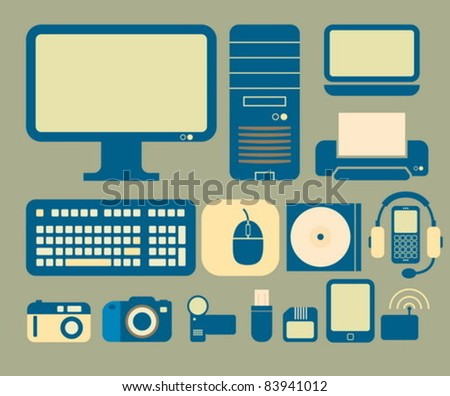 Computers and electronics icons - stock vector