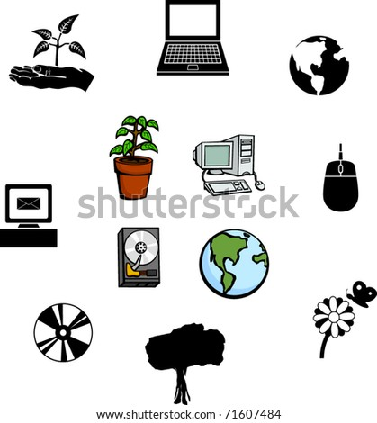 computers and nature illustrations and symbols set - stock vector