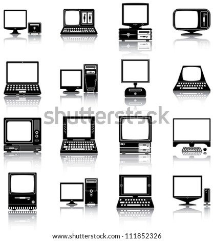 Computers - 16 silhouettes of retro and modern computers. - stock vector