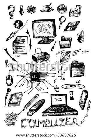 computers symbols - stock vector