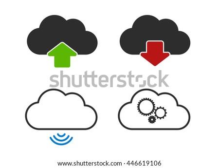 computing cloud icons - stock vector