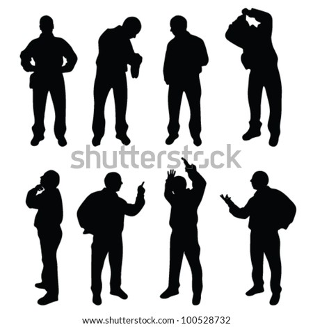 conceived and nervous man silhouette on white - stock vector