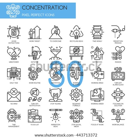 Concentration At Work , Thin Line and Pixel Perfect Icons - stock vector