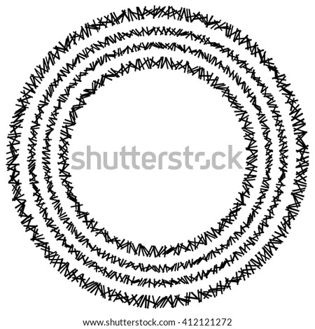 Concentric circle element made of random rectangles - stock vector