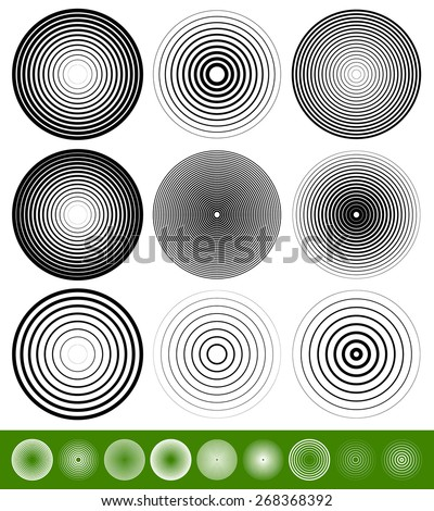 Concentric Circle Elements / Backgrounds. Abstract circle pattern. - stock vector
