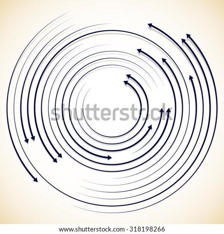 Concentric circulating, rotating arrows, circle arrows. Vector. - stock vector