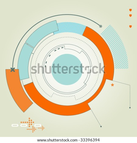 Concentric futuristic, abstract shapes and curves design - stock vector