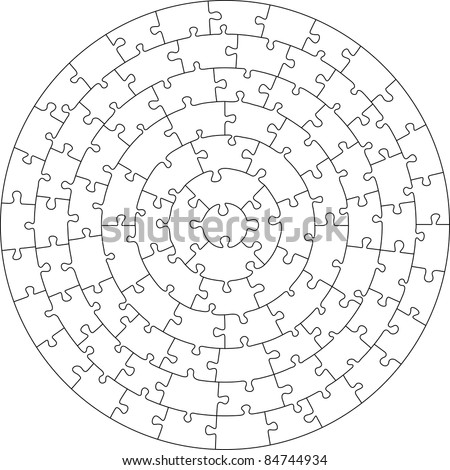 Concentric jigsaw puzzle. Each piece in a separate shape. Editable lines in AI file (vector)