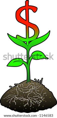 Concept art depicting FINANCIAL GROWTH (Dollar) - stock vector