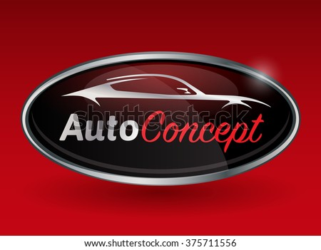 Concept automotive logo design with chrome badge of sports vehicle silhouette on red background. Vector illustration.