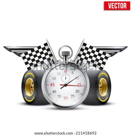 Concept banner Car racing and championship. Stopwatch and tubes in form wings. Editable Vector Illustration.