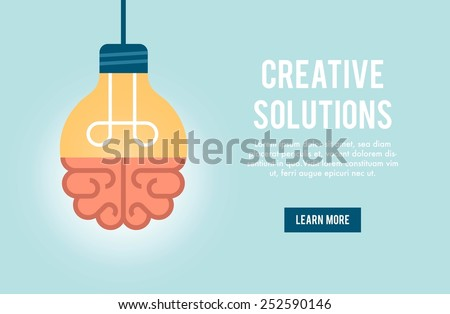 concept banner for creative solution, vector illustration - stock vector