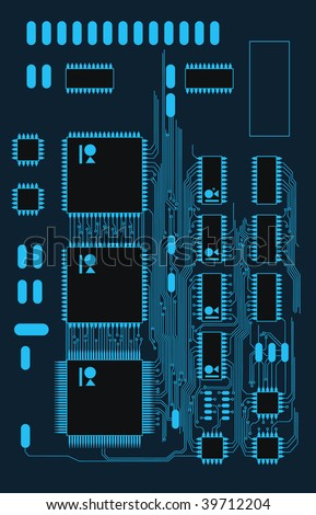 concept blue circuit board - stock vector