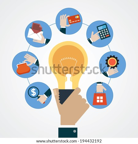 Concept business idea. Hand of a man with a light bulb surrounded by business icons - stock vector