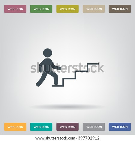 Concept, businessman on stair or steps, metaphor to success - stock vector