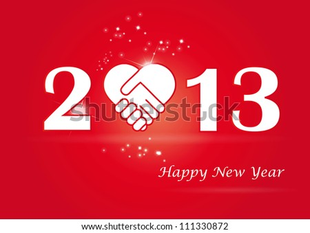 Concept card on New Year 2013 with hands - stock vector