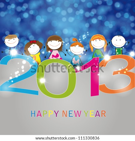 Concept card on New Year 2013 with happy kids - stock vector