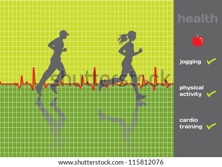 Concept: cardiogram and a physical activity exam, jogging - vector; green and gray - stock vector