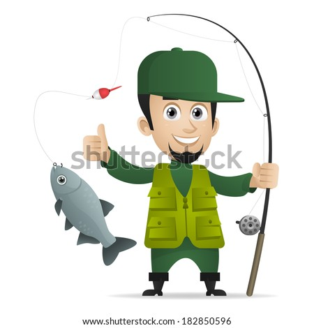 Concept cheerful fisherman holds fishing rod - stock vector