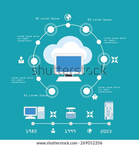Concept cloud computing infographic illustration - stock vector