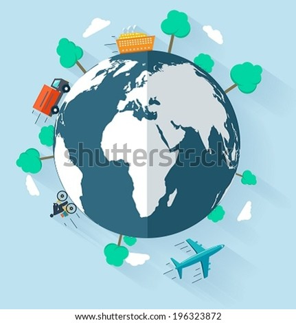 Concept delivering goods worldwide, flat design signs for web and mobile - stock vector