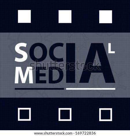 Concept design badge social media label dark blue and white style art - stock vector