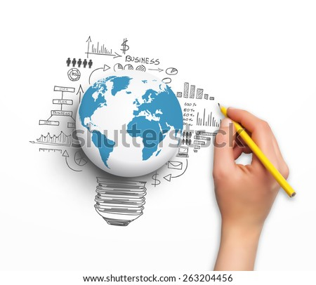 Concept design - hand with pencil and world globe, in vector format - stock vector