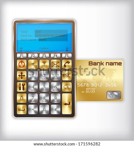 Concept design of credit card reader with credit card - stock vector