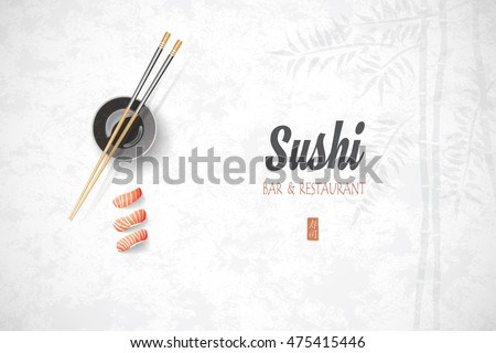 Concept design of the invitation sushi restaurant. Vector illustration texture of a bamboo