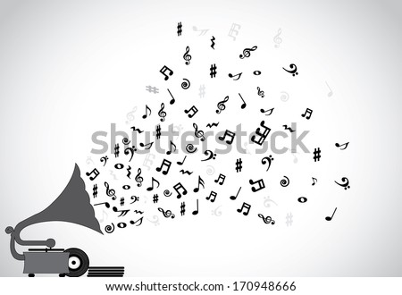 concept design vector illustration unusual art artwork: Gramophone silhouette playing slow soothing music and different notes flowing out of the speaker with more discs placed next to the player - stock vector