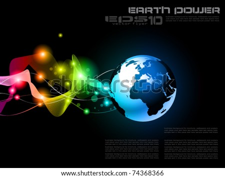 Concept Earth Planet Design for Technology Futuristic Poster or Flyers - stock vector
