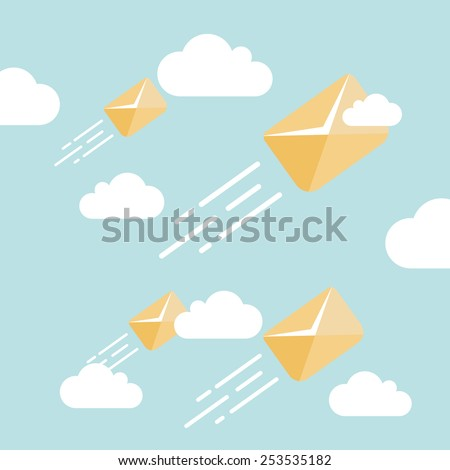 Concept flying letters in sky. Flat design colored vector illustration. - stock vector